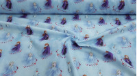 Cotton Disney Frozen 2 Blue fabric - Disney licensed cotton poplin fabric with drawings of the characters Elsa, Anna and Olaff from the movie Frozen 2 on a blue background with the snowy forest. The fabric is 140cm wide and its composition is 100% cotto