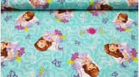 Tela Algodón Disney Princesa Sofía - Preciosa tela de algodón Disney con dibujos de la serie Princesa Sofía, dibujos de mariposas y flores sobre un fondo azúl turquesa. La tela mide 110cm de ancho y la composición es 100% algodón.