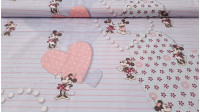 Cotton Disney Mickey Minnie Love fabric - Very beautiful cotton fabric with drawings of Disney characters, Mickey and Minnie on a background of hearts.