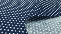 Cotton Tiny Stars Poppy fabric - Poplin cotton fabric with drawings of tiny stars on various backgrounds to choose from. The fabric is 150cm wide and its composition is 100% cotton.