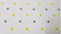 Cotton Stars Gray with Color fabric - Decorative cotton fabric with drawings of gray stars combining with various colors. An ideal fabric for children's-themed creations, decorations, accessories ... The fabric is 160cm wide and its composition is 10