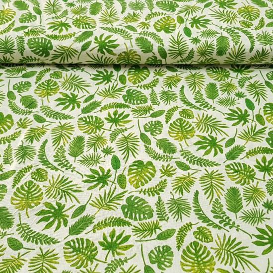 Tela Algodón Hojas Verdes - Tela de algodón decorativa con dibujos de hojas de plantas verdes sobre fondo blanco. Ideal para cojines, decoraciones de restaurantes, bolsitas... La tela mide 160cm de ancho y su composición 100% algodón.