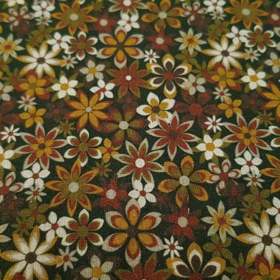 Tela Algodón Flores Variadas Country - Tela de algodón con dibujos de flores de varios tamaños y colores, predominando los tonos ocre y granate. Tela muy recomendadapara las creacionesde patchwork. La tela mide 150cm de ancho y su composición 100% algod