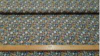Tela Algodón Flores Variadas Country - Tela de algodón con dibujos de flores de varios tamaños y colores, predominando los tonos azules y verdes. Tela más que indicada para las creacionesde patchwork. La tela mide 150cm de ancho y su composición 100% alg