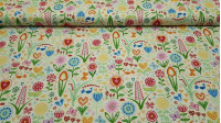 Cotton Garden Flowers Hearts Yellow fabric - Fine cotton poplin fabric with drawings of very colorful flowers and various sizes, hearts, butterflies ... on a pale yellow background. The fabric is 150cm wide and its composition 100% cotton.
