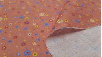 Cotton Flowers Daisies Colors Coral Background fabric - Ideal fabric for Patchwork of 100% cotton composition with drawings of flowers and daisies in colors and sizes on an orange coral background. The fabric is 150cm wide and its composition is 100% cott