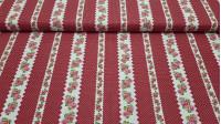 Tela Algodón Rosas y Topos Cenefas Rojo - Tela de algodón con dibujos de cenefas blancas con rosas y topos blancos pequeños sobre fondo rojo. La tela mide 140cm de ancho y su composición 100% algodón.