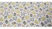 Cotton Autumn Branches fabric - Organic cotton fabric with drawings of branches in autumn colors on a white background. The fabric is 150cm wide and its composition is 100% cotton.