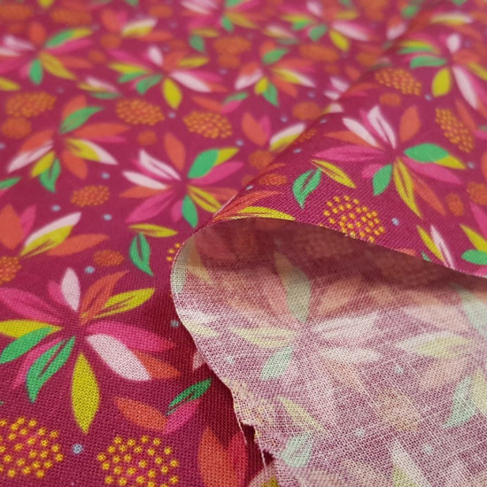 Cotton Plants Tropical Fuchsia fabric - Organic cotton fabric with striking plant patterns in shades of fuchsia, lime ... The fabric is 150cm wide and its composition is 100% cotton.