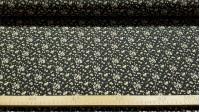 Tela Algodón Flores Margaritas Negro - Tela de algodón con dibujosde margaritas sobre fondo turquesa. Ideal para creaciones patchwork. La tela mide 145cm de ancho y su composición 100% algodón.