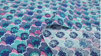Cotton Retro Flowers fabric - Poplin cotton fabric with retro floral patterns in blue tones. The fabric is 140cm wide and its composition is 100% cotton.