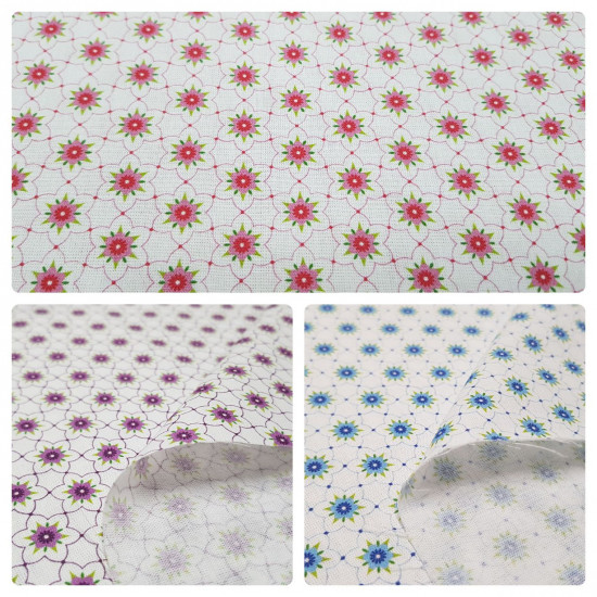 Tela Algodón Flores Geometría Fondo Blanco - Tela de algodón con dibujos de flores y formas geométricas sobre un fondo blanco. La tela mide entre 140-150cm de ancho y su composición 100% algodón.
