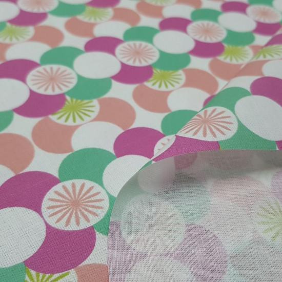 Tela Algodón Mosaico Círculos Colores 4004 - Tela de popelín algodón con dibujos circulares formando mosaicos muy coloridos. La tela mide 150cm de ancho y su composición 100% algodón.