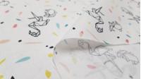 Tela Algodón Flamencos Origami Confeti - Tela de popelín algodón con dibujos de origami en formas de flamencos y conejos sobre un fondo blanco con confetis de colores. La tela mide entre 140-150cm de ancho y su composición 100% algodón.