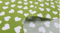 Tela Algodón Corazones Blancos Love - Tela de popelín algodón con dibujos de corazones blancos sobre varios fondos a elegir. La tela mide 150cm de ancho y su composición 100% algodón.