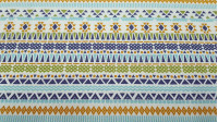 Cotton Aztec Triangles fabric - Cotton fabric with drawings of geometric shapes, triangles, zigzags with an Aztec style in bright colors. The fabric is 150cm wide and its composition is 100% cotton.
