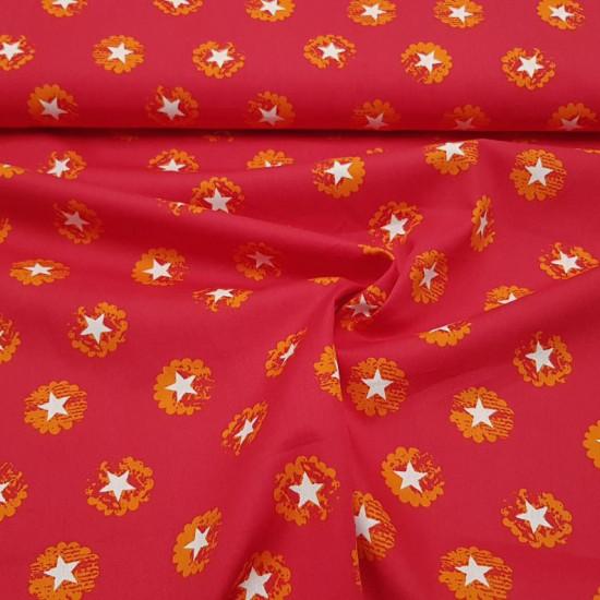 Tela Algodón Estrellas Blancas - Tela de algodón con dibujos de estrellas blancas sobre varios fondos disponibles a elegir. Las estrellas se encuentran dentro de unos círculos en forma de nube. La tela mide 150cm de ancho y su composición 100% algod