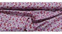 Tela Algodón Corazones Allover Rosa - Tela de algodón con dibujos de corazones pequeños de varios colores sobre un fondo de color rosa. La tela mide 150cm de ancho y su composición 100% algodón.
