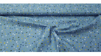 Cotton Splash Colors Blue fabric - Cotton fabric with patterns of splashes or spots of various colors on a blue background. The fabric is 145cm wide and its composition 100% cotton