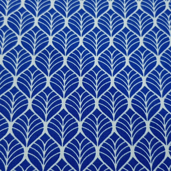 Cotton Geometric Shapes Blue fabric - Cotton fabric with drawings of geometric shapes in white strokes on a blue background The fabric is 150cm wide and its composition 100% cotton