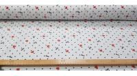 Cotton Hearts Black Dots fabric - Cotton fabric with drawings of red hearts on a white background with black dots and phrases