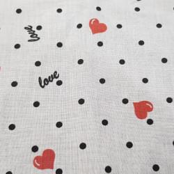 Cotton Hearts Black Dots