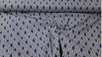 Cotton Bows Tokyo Blue fabric - Cotton fabric with drawings of white bows in Tokyo style on a dark blue background. The fabric is 140cm wide and its composition is 100% cotton.
