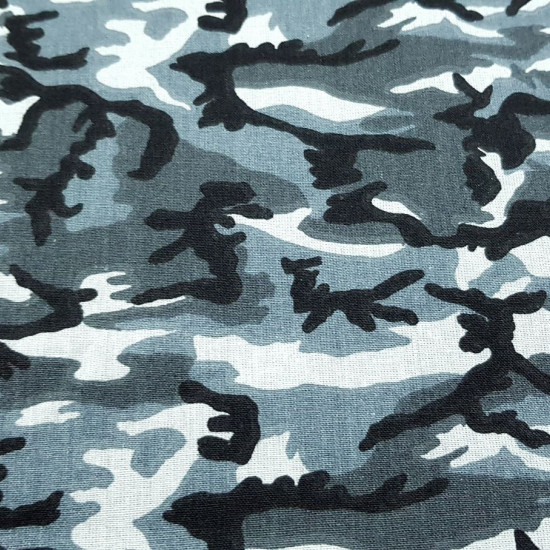 Cotton Camouflage Gray fabric - Cotton fabric with camouflage pattern in gray tones. The fabric is 150cm wide and its composition is 100% cotton.