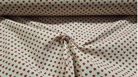 Cotton Linen Style Hearts fabric - Cotton fabric with drawings of red hearts on a linen-style background. The fabric is 150cm wide and its composition is 100% cotton.