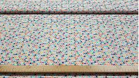 Cotton Semicircle Shapes fabric - Cotton poplin fabric with colorful semicircle patterns forming lines. This fabric is ideal to combine with others that have the same colors. The fabric is 150cm wide and its composition 100% cotton.