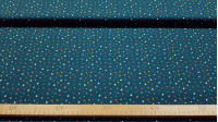 Cotton Stars Colors Ecole fabric - Organic cotton fabric (GOTS) with drawings of colored stars on a dark blue background making a beautiful contrast. The fabric is 150cm wide and its composition is 100% cotton.