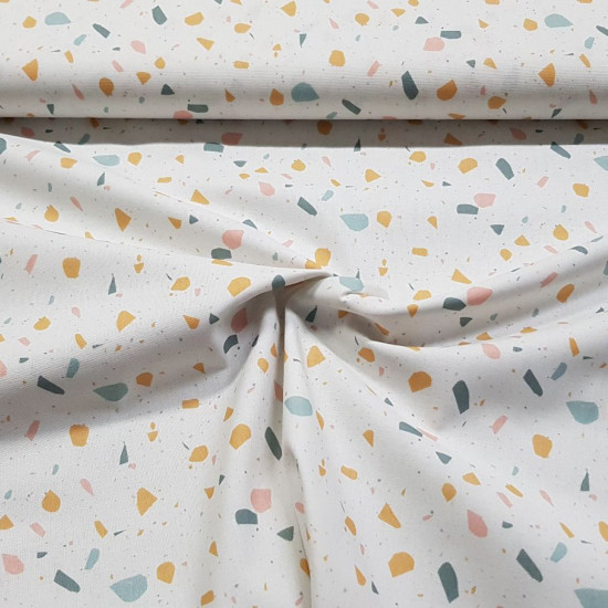 Cotton Confetti Colors fabric - Cotton poplin fabric with drawings simulating colored confetti on a white background. The fabric is 150cm wide and its composition is 100% cotton.