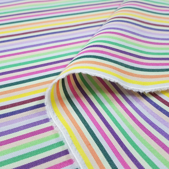 Cotton Stripes Colors fabric - Colored striped fabric in cotton, with green, pink and white colored stripes. A very cool combination of colors! The fabric is 150cm wide and its composition 100% cotton.
