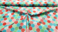 Cotton Honeycombs Hexagons fabric - Cotton poplin fabric with geometric designs of honeycombs in hexagonal shape filled with various motifs and various colors. The fabric is 150cm wide and its composition is 100% cotton.