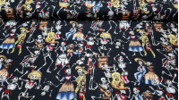 Cotton Halloween Mexican Skeletons fabric - 100% Cotton Patchwork Fabric Drawings of Mexican skeletons on a black background.