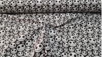 Tela Algodón Calaveras Jack - Tela de algodón empesa estampación digital con dibujos de calaveras con formas de calabaza que nos recuerda al famoso personaje Jack. La tela mide 140cm de ancho y su composición 100% algodón.