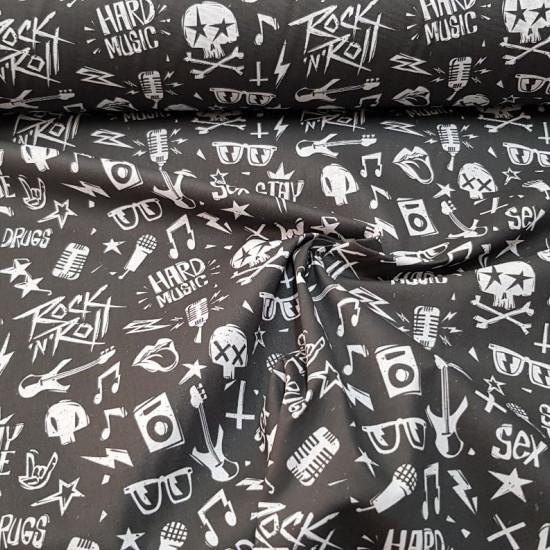 Tela Algodón Calaveras Rockeras - Tela de algodón empesa estampación digital con dibujos de calaveras rockeras, guitarras, gafas de sol, frases rockeras... en contraste de color blanco y negro. La tela mide 140cm de ancho y su composición 100% algodó