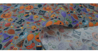 Cotton Halloween Party Candy fabric - CottonHalloween themed fabric with drawings of pumpkins, masks, witch hats, candies... on a gray background. The fabric is 140cm wide and its composition is 100% cotton.