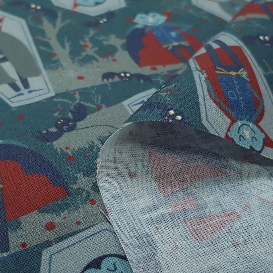 Cotton Halloween Vampires Tombstones fabric - Organic cotton fabric with drawings of vampires and bats in the forest where there are some vampires sleeping on tombstones. The fabric is 150cm wide and its composition is 100% cotton.
