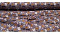 Tela Algodón Halloween Fiesta Gorritos - Tela de algodón empesa impresión digital con dibujos de Halloween donde aparecen calabazas, arañas con gorritos, calaveras con sombreros, entre otras criaturas, sobre un fondo de color lila con caram
