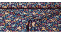 Cotton Floral Skulls Violet fabric - Digitally printed cotton fabric with colorful floral skull drawings on a dark purple background. The fabric is 140cm wide and its composition 100% cotton