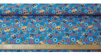 Cotton Floral Skulls Blue fabric - Digital printing cotton fabric with drawings of skulls in flowers with lots of color on a blue background. The fabric is 140cm wide and its composition is 100% cotton.