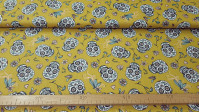 Cotton Skulls Calacas Flowers fabric - Cotton fabric with drawings of large skulls and floral background in different colors. The fabric is 150cm wide and its composition is 100% cotton.