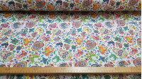 Cotton Colorful Mexican Skulls fabric - Cotton fabric with colorful drawings of Mexican skulls on a white background with flowers, animals, colorful butterflies... The fabric is 150cm wide and its composition is 100% cotton.