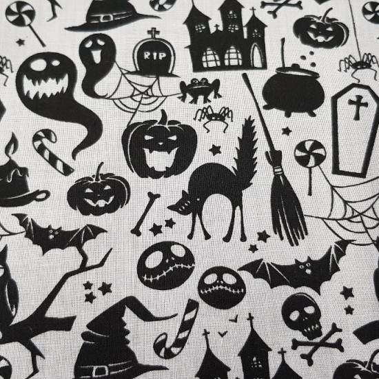Polycotton Halloween White fabric - Fine polyester and cotton fabric with Halloween drawings showing ghosts, witch hats, owls, skeletons, cauldrons, graves... on a white background. The fabric is 110cm wide and its composition is 80% polyester - 20% co