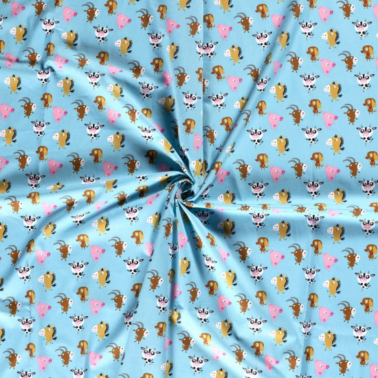 Cotton Animals Googly Eyes fabric - Fun cotton poplin fabric with drawings of farm animals with googly eyes on a blue background. The fabric is 140cm wide and its composition is 100% cotton.