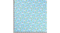Cotton Sheep Sunflowers fabric - Cotton poplin fabric with children's drawings of sheep, sunflowers, carrots... on a blue background. The fabric is 140cm wide and its composition is 100% cotton.