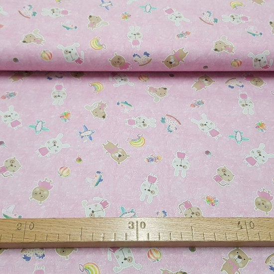 Cotton Bears Kittens and Bunnies fabric - Children cotton poplin fabric with drawings of bears, kittens, bunnies, airplanes, horses ... on a marbled pink background. The fabric is 150cm wide and its composition 100% cotton.
