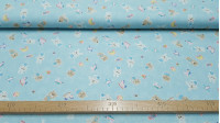 Cotton Bears Kittens and Bunnies Blue fabric - Children cotton poplin fabric with drawings of bears, kittens, bunnies, airplanes, horses ... on a marbled light blue background. The fabric is 150cm wide and its composition 100% cotton.