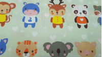 Cotton Stuffed Animals fabric - Children's cotton fabric with drawings of very cute animals with a stuffed animal on a light green background and white heart shapes.